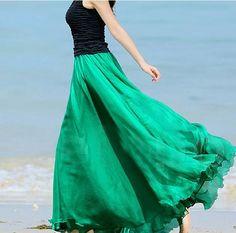 Black & Green Maxi Dress !!