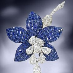 A sapphire and diamond 'Fuschia' brooch, by Van Cleef & Arpels