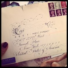 Pretty hand calligraphy all the way from London just arrived on my desk. #RoyalMail #handcalligraphy #cecinewyork