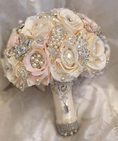 "Custom 27"" in Circumference, Blush Pink and Ivory Brooch Bouquet with all Silver Brooches and Gems.  Exclusive Design of Glam Bouquet Only.   Full Promo Price o"