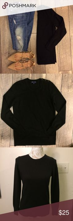 """GAP Luxe Black Sweater Amazingly soft! This """"luxe"""" sweater is so cozy and will go with everything! A definite staple for this season. Cute button detail on the left shoulder. Excellent condition. Feel free to ask questions or make an offer! GAP Sweaters Crew & Scoop Necks"""
