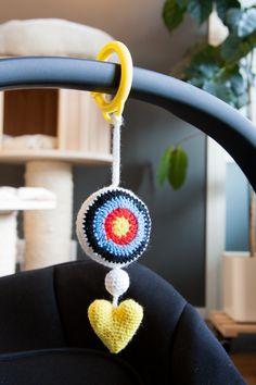 Ravelry: Archery Pram Toy pattern by Paula Virmasalo Pram Toys, Unique Crochet, Prams, Yarn Colors, Stuffed Toys Patterns, Archery, Crochet Hooks, Ravelry, Crochet Earrings