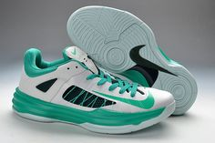 Cheap Mens Nike Hyperdunk Low Basketball Shoes White/Green 554671-100