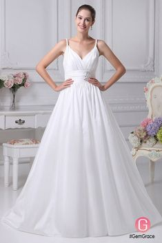 Only $214.9, Wedding Dresses Elegant White Empire Waist Maternity Wedding Dress with Straps #OPH1062 at #GemGrace. View more special Wedding Dresses,Simple Wedding Dresses now? GemGrace is a solution for those who want to buy delicate gowns with affordable prices, a solution for those who have unique ideas about their gowns. 2018 new arrivals, shop now to get $20 off!