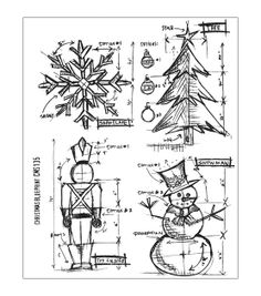 Tim Holtz Cling Rubber Stamp Set-Christmas Blueprint & Stamps