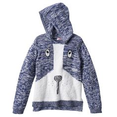 Design 365 Puppy Marled Sweater Hoodie - Toddler Girl, Size: 2T, Blue (Navy)