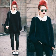 Cosy fall outfit.edgy.black and white.luanna