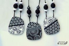 https://flic.kr/p/J9BzGi | Polymer clay necklaces, black&white, silk screen…