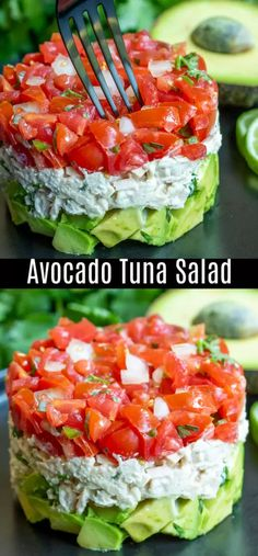 Avocado Tuna Salad Recipe - Clean Eating PlanThis healthy Avocado Tuna Salad recipe is a keto and low carb lunch or dinner recipe made with creamy tuna and mayonnaise, cilantro, tomatoes, and fresh avocado. It's one of my favorite avocado recipes! Best Salad Recipes, Diet Recipes, Recipies, Easy Recipes, Lunch Salad Recipes, Tuna Lunch Ideas, Salads For Lunch, Simple Salad Recipes, Summer Lunch Recipes