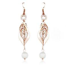 Fashion Gold Alloy Leaf Shape And White Opal Women's Drop Earrings[US$2.56]