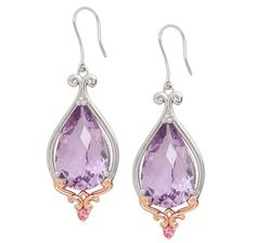 Treasures of Morocco Sterling Silver Rose Gold Plate Rose De France & Pink Tourmaline Earrings