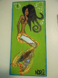 Mermaid outsider/ folk art painting by NOR