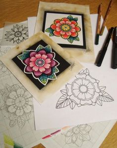 Flower tattoo designs by Sophie Adamson