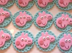 12 Peppa Pig fondant cupcake toppers by Allthingscakes on Etsy, $15.00