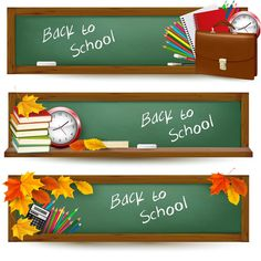 """Back to School Banners...vector Set of 3 vector back to school banner templates with blackboard and some stationery (pens, books, pencils) for your designs. Format: EPS, Ai stock vector clip art and illustrations. Free for download. Set name: """"Back to school banners"""" for Adobe…"""