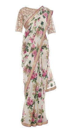 Off White and Pink Hand Screen Floral Printed Saree