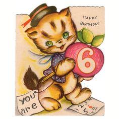 Vintage Six Year Old Birthday Greeting Card Dressed Kitten Holding Apple Used - Avid Vintage - 1 Vintage Birthday Cards, Vintage Greeting Cards, Christmas Greeting Cards, Birthday Greeting Cards, Valentine Day Cards, Birthday Greetings, Birthday Wishes, Vintage Ephemera, Holiday Cards