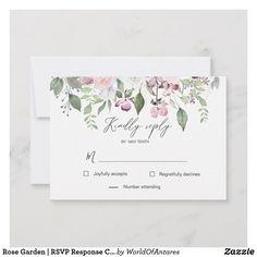 Shop Rose Garden elegant floral RSVP Response Card created by WorldOfAntares. Wedding Rsvp, Wedding Cards, Response Cards, No Response, Watercolor Wedding Invitations, Blush And Gold, Blush Roses, Mauve, Summer Wedding