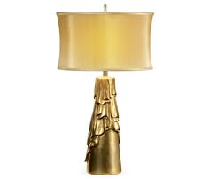"""Limited Production Design & Stock: 27"""" Tall Elegant Draped Table Lamp * Hand Carved, Antique Gold Leaf Finish, Silk Shade * Partner Bedroom Suite Furniture Available"""