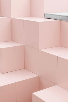 Permanent installation designed by Mathieu Lehanneur for Studio at the Centre Pompidou Paris. Fotografia Pb, Coral Pantone, Pantone 2016, Blue Photography, Mathieu Lehanneur, Art Blue, Pompidou Paris, Deco Rose, News Studio