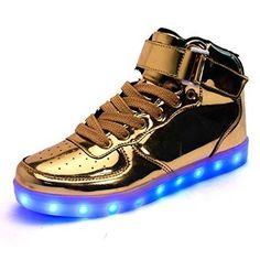 Leuchtende Schuhe Golden Damen Halbhohe Led Schuhe, Glitzer Schuhe,  Leuchten, Handtaschen, Damen eb615d832d