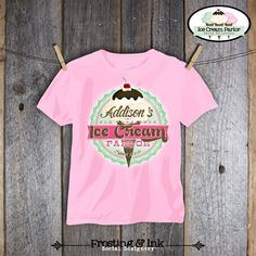 Ice Cream Party - Ice Cream Parlor Birthday - Iron on Transfer - Printable (Shirt, Tshirt, Apron, Social, Sweet, Shoppe, Old Fashioned)