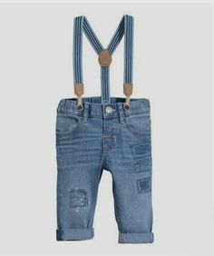 Jeans in washed stretch denim with suspenders. Concealed adjustable elasticized waistband and zip fly with snap fastener. Front and back pockets patches on legs and elasticized suspenders with faux leather appliqués. Denim H&m, Blue Denim, Baby Jeans, H&m Jeans, Jeans Size, Denim Fashion, Kids Fashion, Baby Boy Outfits, Kids Outfits