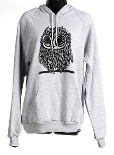 Love owls!! Owl on Heather Grey American Apparel Hoodie s, m, l, xl, xxl on Etsy, $38.00