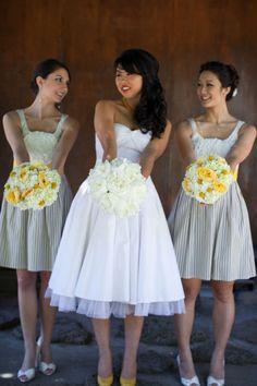 Yellow & Gray wedding (Anthropologie bridesmaid dresses)