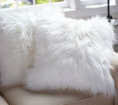 faux fur pillow cover long shaggy potterybarn i am not a pillow lover but - White Decorative Pillows