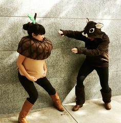 Diy Acorn and squirrel couples halloween costume