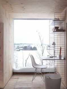 Modern rustic home office space. The Swedish String shelf. See more at String Furniture. Home, Interior Design Photography, House Design, Contemporary House, Wood Panel Walls, Interior Design, Office Design, House Interior, Interior Architecture