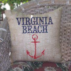 Virginia Beach Burlap Pillow, now featured on Fab.