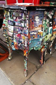 Def don't want comic book, but great idea to modge podge a dresser!