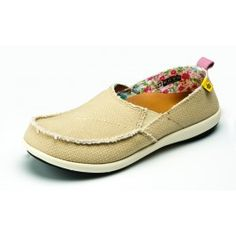 Spenco Siesta Shoes in Straw & Calico.  A great Light Summer Show with Orthotic Arch Support.