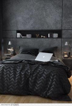 Sypialnia szara ściana z półką