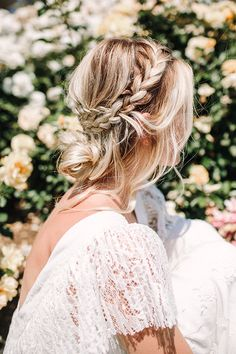 boho wedding braid - photo by Hanna Photography http://ruffledblog.com/language-of-flowers-wedding-editorial
