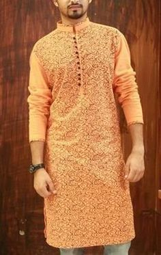 Color - Orange #Kurta For #Men #style #fashion #menswear #onlinemela Order Now: +92-334-333-6352