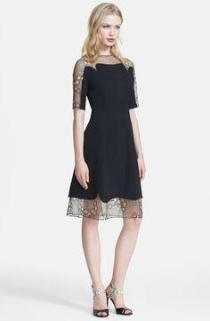 Lela Rose Tulle Inset Fit & Flare Dress