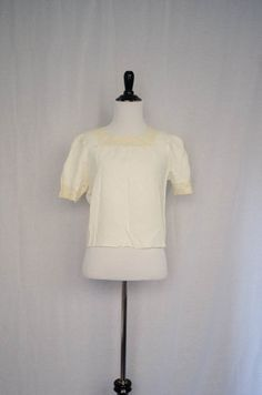 Vintage 1930's 'Gretchen' Silk and Lace Square Neck Top Size S by BeehausVintage on Etsy