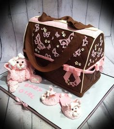 butterflies and bunnies diaper bag cake