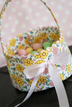 easter fabric basket