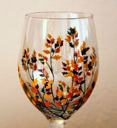 Autumn Branches Hand Painted Wine Glass by NewHopeElizabeth, $20.00