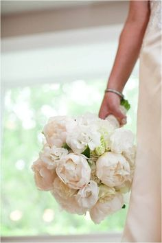 wedding flower bouquet, bridal bouquet, wedding flowers, add pic source on comment and we will update it. www.myfloweraffair.com can create this beautiful wedding flower look. Classic white peony bouquet ~ by Artistic Blossoms