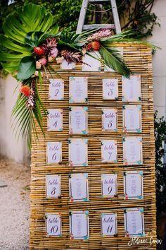 Fab idea for a tropical table plan www. Mariage exotique, mariage tropical Photos : www. Estilo Tropical, Tropical Style, Tropical Wedding Decor, Exotic Wedding, Tropical Wedding Centerpieces, Tropical Weddings, Flower Centerpieces, Wedding Reception Seating, Seating Chart Wedding