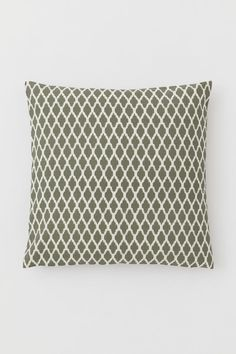 Patterned Cotton Cushion Cover - Khaki green/white patterned - Home All London Decor, H&m Home, H&m Gifts, Grey Pattern, H&m Online, Khaki Green, Fashion Company, White Patterns, World Of Fashion