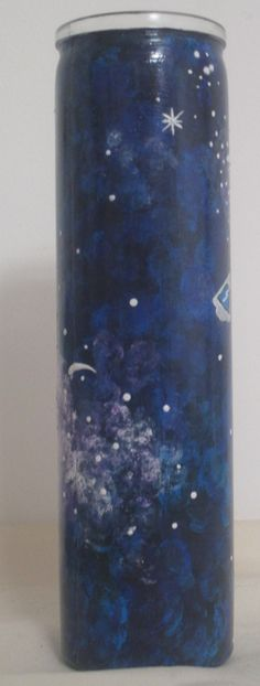Hand Painted Galaxy Design Candle with Major Tom Space Capsule. David Bowie Candle. Tall Galaxy Cand
