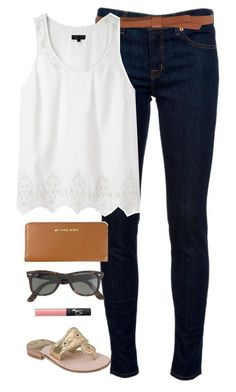 """""""so close to being done with school"""" by classically-preppy ❤ liked on Polyvore featuring J Brand, Ganni, rag & bone, Jack Rogers, Michael Kors, NARS Cosmetics and J.Crew"""