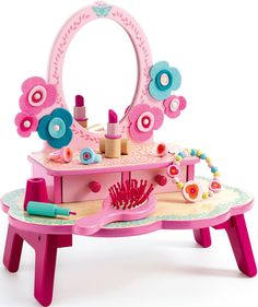 Pretty wooden dressing table and accessories, suitable for 4 years and above