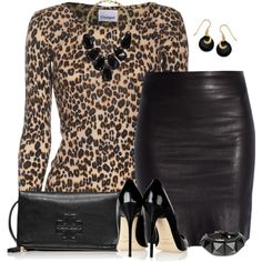 A fashion look from September 2014 featuring Crumpet sweaters, The Row skirts and Tory Burch shoulder bags. Browse and shop related looks. Classy Outfits, Beautiful Outfits, Stylish Outfits, Fall Outfits, Fashion Outfits, Womens Fashion, Fashion Trends, Leopard Print Outfits, Leopard Fashion